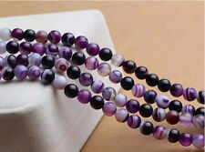 """Natural Colorful Stripe Agate Onyx Gems Round Loose Beads Jewelry Making 15"""""""