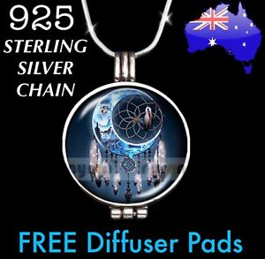 Dreamcatcher Wolf Moon Essential Oil Diffuser Locket 925 Sterling Necklace Gift