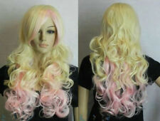 New Blonde + Pink Mix Long Curly Wavy Cosplay women Wig wigs for women+wig cap