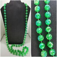 """Vintage 48"""" LUCITE AB GREEN ROSE BEAD NECKLACE Flapper Opera Iridescent 14mm"""