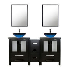 "Bathroom Vanity 60"" W/ Small Cabine Mirror Glass Vessel Sink Faucet Draint Black"