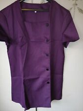 Beauty SPA Nail Salon Therapist Massage Tunic Uniform Clothes Black Purple
