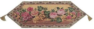 DaDa Bedding Romantic Fruit & Roses Floral Tapestry Placemat Cloth Table Runners