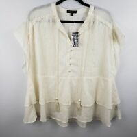Lane Bryant Ivory Gold Tassel Ruffle Blouse NEW Size 18/20 PLUS SIZE