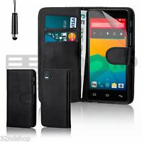 32nd Book Waller PU Leather Case Cover BQ Aquaris + Screen Protector & Stylus