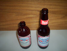 "2 Vintage Budweiser 9"" Long Neck & 6 1/2"" Stubby Beer Bottles Canada BUD"