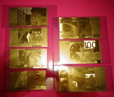 24 KARAT GOLD 2002 EURO __ LOT OF 7 European Union € NOTES-IN  RIGID PVC HOLDER.