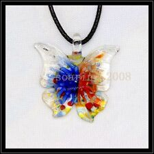 2016 New butterfly lampwork Murano art glass beaded pendant necklace BB35