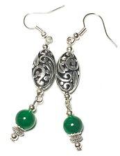 Long Silver Green Agate Earrings Drop Dangle Tibetan Style Pierced Hook Artisan