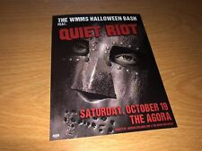Quiet Riot At The Agora Cleveland Halloween bash 2019 2-sided Promo Card