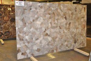4'x2' Silver Marble Restaurant Table Top Smoky Quartz Inlay Furniture Decor E232
