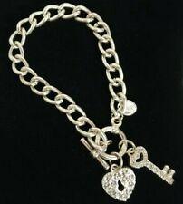 Silver Tone T-BAR Bracelet Chunky Chain Heart Lock & Key Charms Sparkly Stones