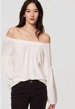 NWT Ann Taylor LOFT Off the shoulder Bell sleeve top Whisper WHite Xlarge Ivory