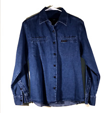 VTG Harley Davidson Women's Long Sleeve Denim Shirt Medium Embroidered Logo