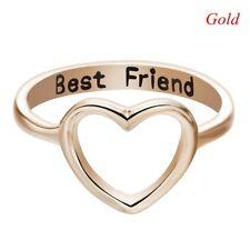 US 7 Women Love Heart Best Friend Ring Promise Jewelry Friendship Rings Bands Silver