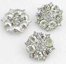 6 Pcs Silver Rhinestone Crystal Flower Shank Buttons Sewing Craft 30mm