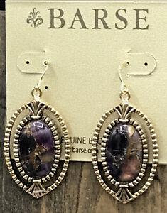 Barse Ecuador Oval Earrings-Bronze Infused Amethyst-Bronze- NWT