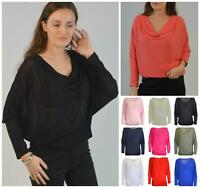 Cowl Neck Drapey Mesh Crepe Top 3/4 Length Batwing Sleeve One Size (10-16)