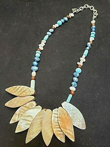 """Handcrafted Natural Mother of Pearl Necklace 16""""-18"""" w/Pearls Glass &Wood Beads"""