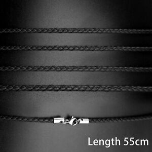 55cm Steel Braided Rope Black Leather Pendant Lobster Silver Clap Necklace Women