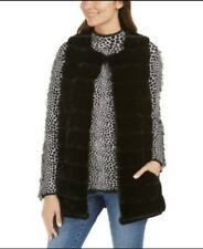 NWT INC International Concepts Womens Faux Fur Vest with Pockets Size S/M Black