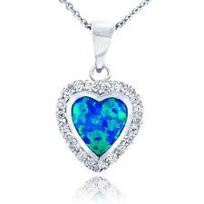 Sterlingsilber Künstlicher Blau Opal & Cubic Zirkonia Herz Halskette