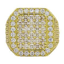 14k Yellow Gold White Sapphire Mens Ring Size 12.5 16.4 Grams