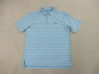 Peter Millar Polo Shirt Adult Large Blue White Striped Golf Casual Mens B61*