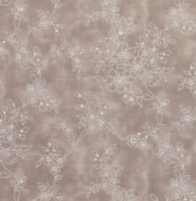 1/2 metre White Flowers Bunches White on Taupe Grey Floral Quilt Fabric