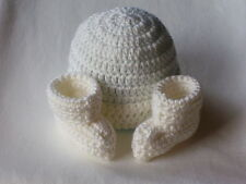 OBE Crocheted 0-3 Months Beanie Hat and Booties Set White Color Handmade Unisex