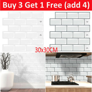 3D Self-Adhesive Kitchen Wall Tiles Bathroom Mosaic Brick Stickers Peel Stick UK