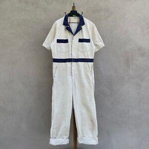 Vintage Paris Linen & Uniform Supply Herringbone Twill Coveralls Fits L - XL