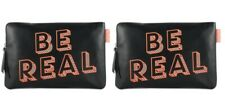 2 x Benefit Be Real Black and Orange Make up Toiletry Cosmetic Bag New Lot