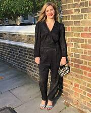 M&S BLACK ANIMAL PRINT LONG SLEEVE JUMPSUIT SIZE UK 18 EUR 46 BNWT