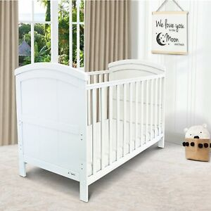 iSafe Baby Cot Bed Toddler Bed Junior CotBed Liam (White) (Including Mattress)
