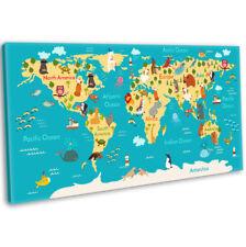 World Map Animals Canvas Print Kids Children's Bedroom Nursery Wall Art Picture
