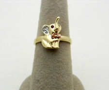 Multi-Tone 14K Solid Yellow Gold Cubic Zirconia Elephant Lucky Ring