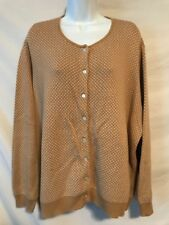 Lands End 3X 24/26W Golden Tan Pattern Cotton Cardigan Sweater Top