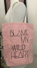 BLAME MY WILD HEART BEIGE AND PINK Canvas Tote Bag (14x15) EMBELLISHED