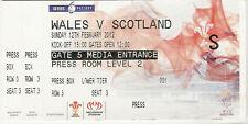 Wales v Scotland 12 Feb  2012 Cardiff  RUGBY TICKET Welsh Grand Slam Season