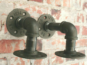 Steel Pipe Industrial Shelf Support Bracket DIY 1 Pair