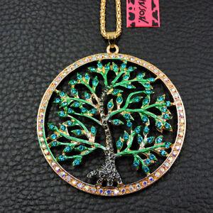 Betsey Johnson Green Crystal Bling Hope Tree Rhinestone Chain Necklace