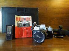 Vintage Minolta SRT 101 1:2.8 135mm Lens 35mm Camera with Case Flash & Manual