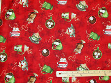 Hot Chocolate Red Cocoa Marshmallow Christmas Fabric by the 1/2 Yard  #33722