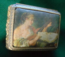 1960s Goldtone Hinged Music Box Satin Portrait of Stringed Instrument Player