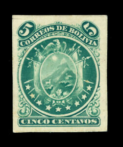 BOLIVIA 1868 Condor 5c grn  AMERICAN BANK NOTE Co. DIE PROOF on very thick paper