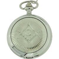 Boxx Gents Masonic Freemasonry Silver Tone Mechanical Pocket Watch, 12 Inch Chai