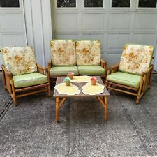 Vtg Rattan Furniture Set 2 Chairs Loveseat Table Flicks Reed Room MCM Bamboo