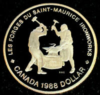 "1988 Canadian $1.00 Silver Proof Dollar -""Saint-Maurice Ironworks"""