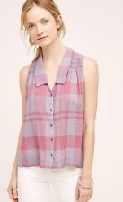NWT Anthropologie PLAID MIDI TANK TOP by HOLDING HORSES 2 XS S PINK PURPLE